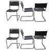 (6 Pc) Mid Century Thonet Leather and Chrome Chairs