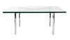 A Ludwig Mies Van Der Rohe Steel and Glass Barcelona Table
