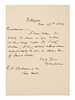 """MELVILLE, Herman (1819-1891). Autograph letter signed (""""H. Melville""""), to his publisher George P. Putnam. Pittsfield [MA], 25 November 1854. One page"""