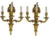 Pair Louis XVI Style Gilt Bronze Sconces