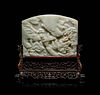 A Fine Pale Celadon Jade Table Screen Height overall 11 7/8 x width 12 1/8 x depth 4 1/2 in., 30.16 x 30.8 x 11.43 cm
