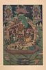 A Tibetan Thangka Height of image 30 x width 20 in., 76.2 x 50.8 cm.