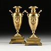 A PAIR OF VICTORIAN TWO HANDLED POLISHED BRASS VASES, 19TH CENTURY,