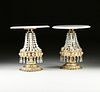 A PAIR OF ITALIAN HOLLYWOOD REGENCY STYLE MARBLE TOPPED AND CUT CRYSTAL MOUNTED GILT METAL TABLE LAMPS, 1970s,