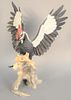 """Boehm """"Pileated Woodpecker"""", limited edition porcelain sculpture by Edward Marshall #47, ht. 22"""", wd. 15 1/2""""."""