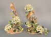 """Boehm pair of """"Wood Thrushes"""", porcelain sculptures to include female feeding chicks, and a male, ht. 15 1/2"""" and male ht. 15 1/2""""."""