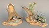 """Pair of Boehm """"Killdeer"""" porcelain sculptures to include female with chicks and male #473, ht. 9.5""""."""