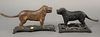 """Two iron dog nutcrackers, one in old brown paint, lg. 10"""" and 12""""."""