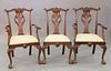 """Set of eighteen mahogany Chippendale style dining chairs to include 2 armchairs and 16 side chairs, ht. 40.5"""""""