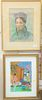 Nine framed Chinese paintings to include two pastels, bust, portrait signed Dutec, three Chinese paintings on silk or cloth along with four paintings