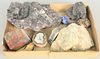Tray lot of rock specimens to include amethyst petrified wood.