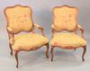 """Pair of Louis XV style fauteuil, Bentley Churchill, ht. 41"""", wd. 27""""."""
