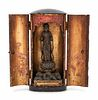 A Small Black Lacquered Shrine with a Carved Wood Figure of Kannon