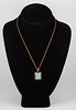 Rose Gold-Tone Turquoise Pendant Necklace