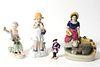 Gilt & Polychrome Porcelain Figurines, 4
