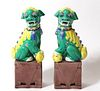 Chinese Polychrome Porcelain Foo Dogs, Pair