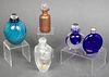 Art Glass Perfume Bottles, Group of 5
