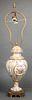Continental Belle Epoque Porcelain Vase Table Lamp