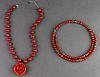 Silver, Red Coral, Smoky Quartz & Jasper Necklaces