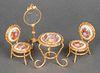 Limoges Porcelain Miniature Furniture Suite, 3 Pcs