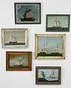 Set of Six Reverse Paintings on Glass of Ships, 19th and 20th c.