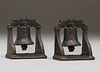 Pair Arts & Crafts Brass Liberty Bell Bookends c1910