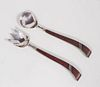 Mexican Sterling Silver & Rosewood Salad Fork & Spoon