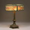 Large Bradley & Hubbard Reverse-Painted Oval Lamp c1910