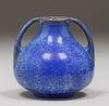 Fulper Pottery Two-Handled Blue Crystalline Vase c1920
