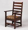 Early Gustav Stickley Tall Ladderback Armchair c1902