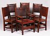 Set of 6 Gustav Stickley Leather-Back Chairs