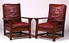 Pair Early Gustav Stickley Large Armchairs c1902