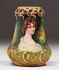Amphora Pottery Painted Portrait Vase c1900