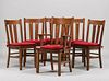Set of 6 Grand Rapids Cutout Dining Chairs c1910