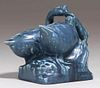 Rookwood Double Swan Matte Blue Paperweight 1924