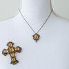 Silver & Gold Citrine Diamond Cross Pendant