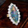 Very Fine Black Opal and Diamond Ring