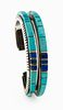 Charles Loloma (Hopi, 1921-1991) Silver, Turquoise, Ironwood, and Lapis Cuff Bracelet, with Gold AccentsLot is located and will ship from Denver, Colo