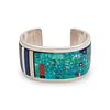 Jesse Monongya (Hopi-Dine, b. 1952) Silver Cuff with Mosaic InlayLot is located and will ship from Denver, Colorado
