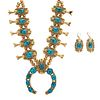 Darren Livingston (Dine, 20th/21st century) 18k Gold and Turquoise Squash Blossom Necklace and Matching Earrings Lot is located and will ship from Den