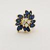 14K Gold Diamond & Sapphire Cluster Ring
