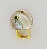 18K Gold & Mother of Pearl Snail Ring