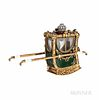 Gold and Enamel Miniature Model of a Sedan Chair