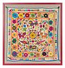 An Indian Embroidered Tapestry 25 x 25 inches.