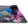 Evening Event Clutch: Velvet Tie-Dye on Dark Grey Flower w Chameleon
