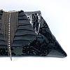 Evening Event Clutch: Black on Black w moving Rhinestone/Pewter Strands