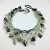 Carved glass necklace with glass seed beads