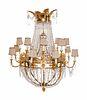 A Russian Empire Gilt Bronze and Cut Glass Sixteen-Light Chandelier