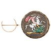 A Victorian Seed Pearl Pin & Enamel Coin Brooch