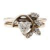 A Heart-Shaped Diamond & Leaf Ring in 14K
